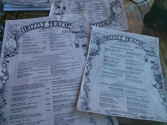 Grizzly House Restaurant: Menus
