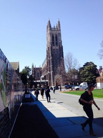 Duke University Chapel: Walking down the sidewalk in front of the chapel.