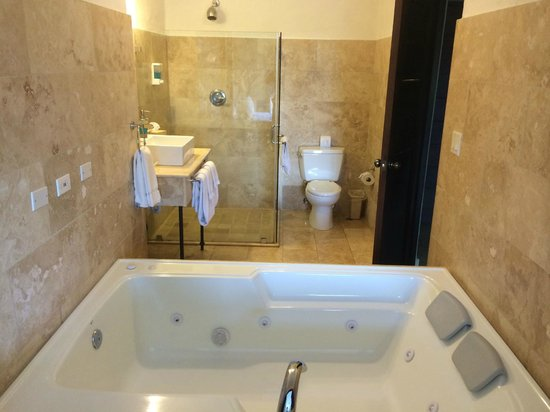 Los Mandarinos Boutique Spa & Hotel Restaurant : Bathroom with Jacuzzi shower etc