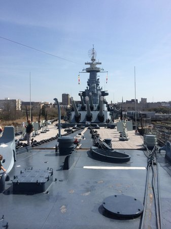 Battleship NORTH CAROLINA: Looking aft from the stern.