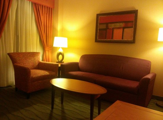 Embassy Suites by Hilton East Peoria - Hotel & RiverFront Conf Center: The living area w/pullout bed
