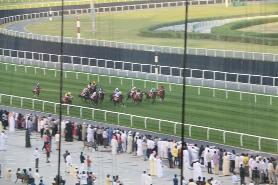 Meydan Racecourse : View from our table in tiered restaurant