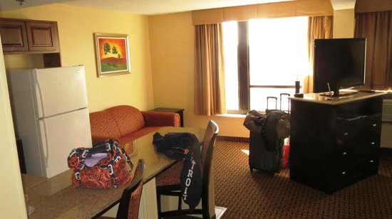 Holiday Inn Express Detroit - Downtown: King Suite to show pullout sofa couch