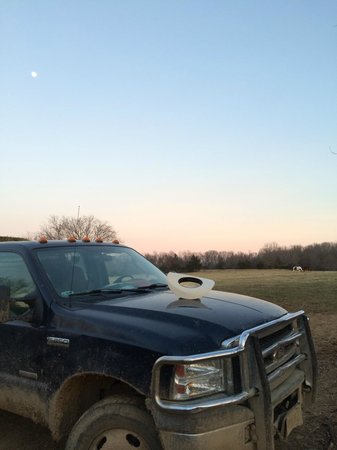 Bucks and Spurs Guest Ranch : Sunset, and C set his hat on his truck