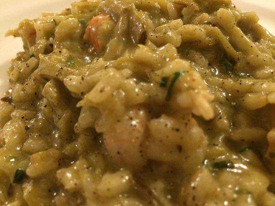 Al Colombo : Risotto di Scampi Carciofi (Risotto with Shrimp & Artichoke). Best Risotto anywhere.
