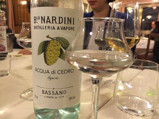Al Colombo : Acqua di Cedro Liquor from Bassano (like Limoncello but even better!  Smooth and light).