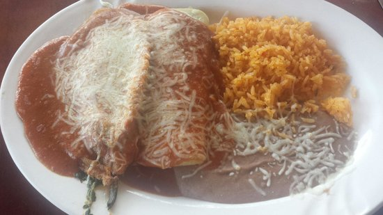 Patron: Chili relleno, spinach enchilada, rice, beans