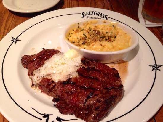 ribeye with macaroni and cheese picture of saltgrass steak house