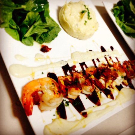 La Tour Bistro: Shrimp with a fig balsamic reduction, blue cheese sauce and rosemary-garlic infused honey!