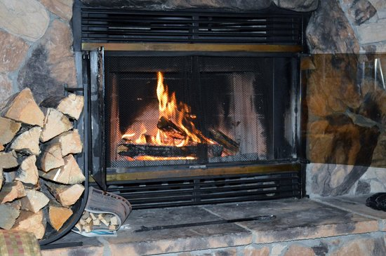 Castle Mountain Chalets: wood burning fire