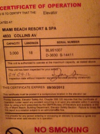 Miami Beach Resort and Spa: Last elevator certificate!!!!