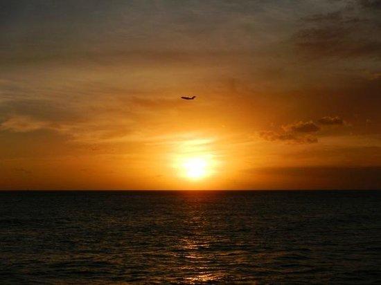 Kaka'ako Waterfront Park (Point Panic Beach Park): ホノルル空港からの離陸する飛行機