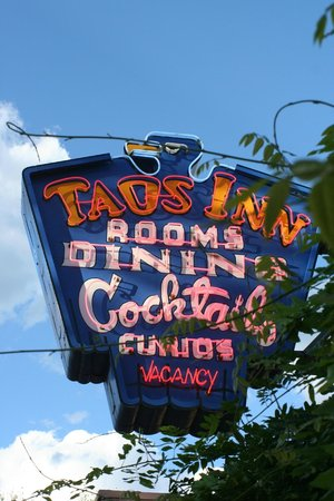 The Historic Taos Inn : The Iconic Neon Sign Hanging Outside of the Old Taos Inn