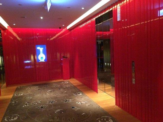 W Taipei: Colorful elevator area