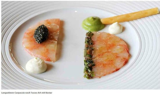 L'Arnsbourg: Langustinen Carpaccio mit Kaviar
