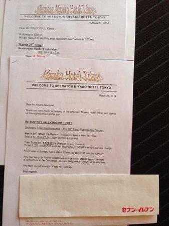 Sheraton Miyako Hotel Tokyo: Concierge Welcome Packets