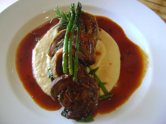 Karoux Restaurant : Karoux Lamb flank wirh pomme puree and suateed greens