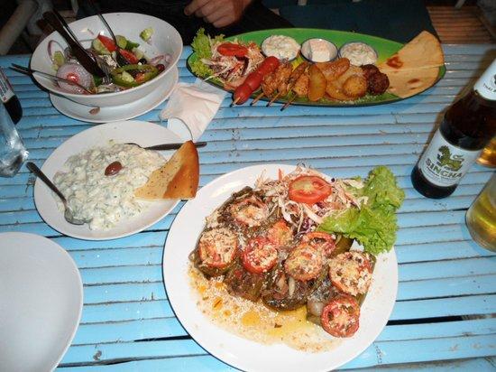 Greek Taverna: Greek salad, Meze plate, Stuffed zucchini