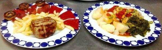 Polar-Cafeteria Jamoneria: Solomillo T.G. con pimientos bierzo y Merluza a la gallega