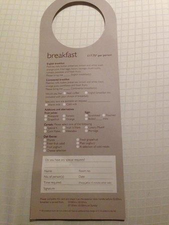 Radisson Blu Edwardian Heathrow Hotel: Room service breakfast options