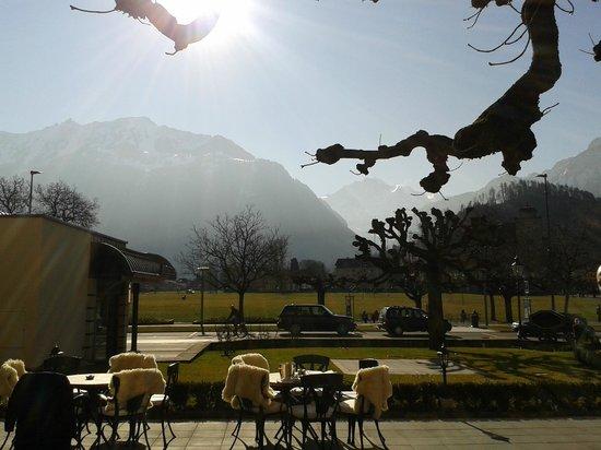 Victoria Jungfrau Grand Hotel & Spa: Sur la terrasse face au Jungfrau