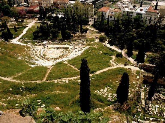Athens Walking Tours : View from Acropolis towards Theatre of Dionysius