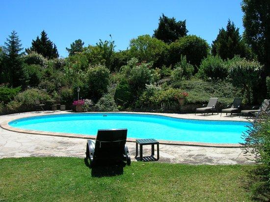 Le Jardin de la Cite : La piscine entourée de sa rocaille fleurie
