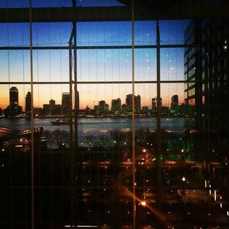 Conrad New York: View of Huson from 6th floor walkway