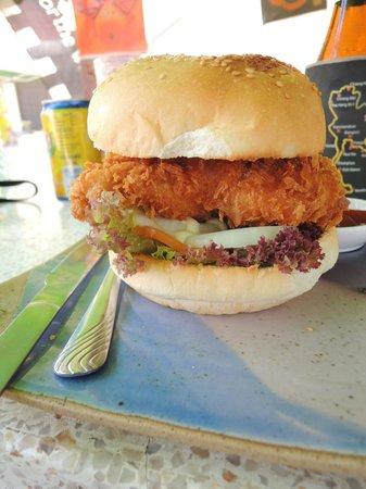 Stop at Sopa: Chicken burger with a tempura patty