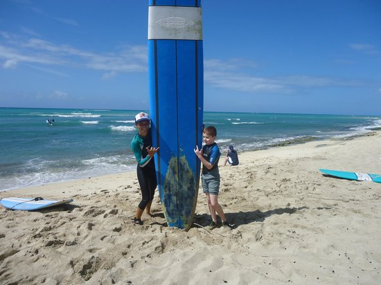 Surf HNL: My son and his awesome instructor!