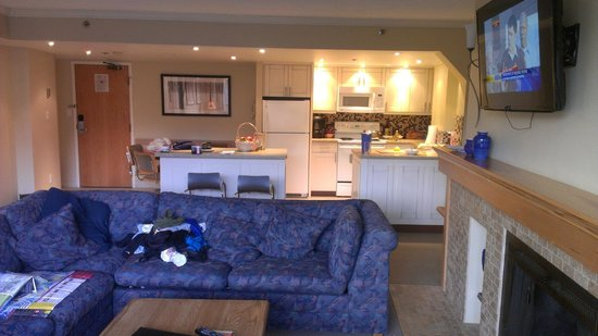 Carleton Lodge: Living room and kitchen