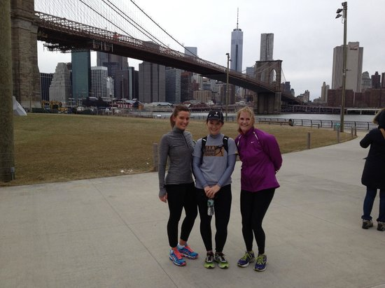 "City Running Tours: Anna, Kathy & our guide Jill "" Brooklyn Bridge Run"""