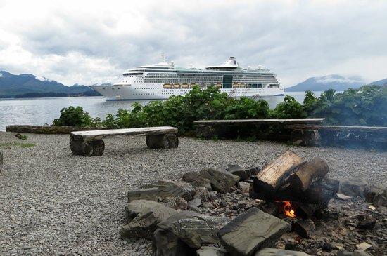 Chichagof Island: Wood Chip Fire on the beach