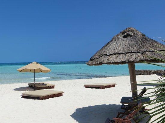 Na Balam Beach Hotel: Playa Norte, face au restaurant de l'Hotel Na Balam