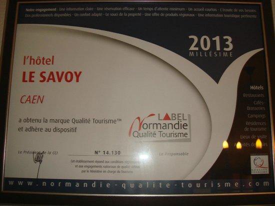 Inter Hotel Le Savoy Caen : CLASSEMENT
