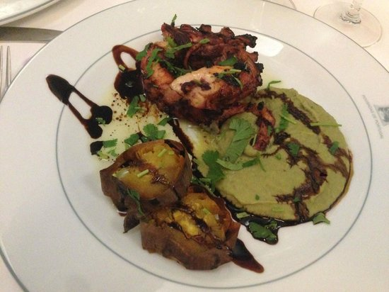Pousada de Sagres, Infante: Grilled octopus, fava puré, roasted sweet potato; an exquisite dinner in the restaurant