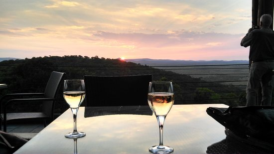 Zulu Nyala Game Lodge: Our first sunset from the deck of the lodge -- no people - no houses - no freeways -- beautiful