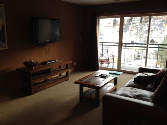Treasure Mountain Inn Hotel and Conference Center: Large flat screen TV & DVD player on LR wall
