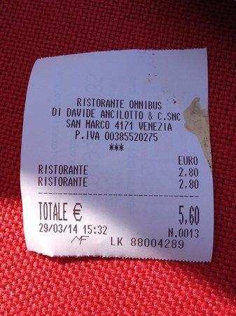 Ristorante Omnibus: Receipt