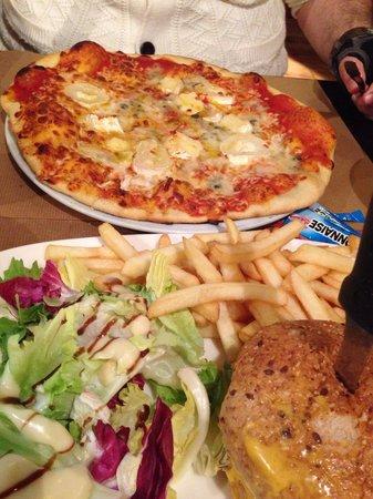 La Dent Creuse : Pizza 4 fromages (le bas du goule) et fish burger