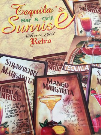Tequila's Sunrise Bar & Grill : The menu