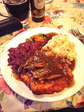 Hunters Schnitzel with Red Kraut & Potato Salad