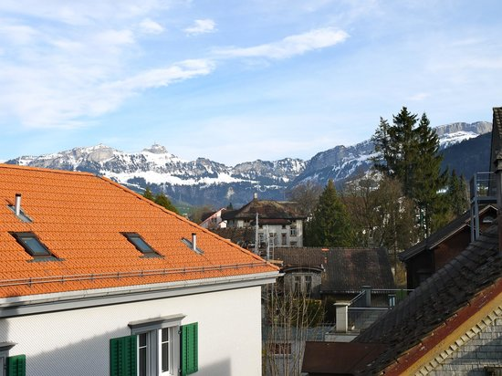 Hotel Hecht Appenzell: Peek-a-boo view from the room
