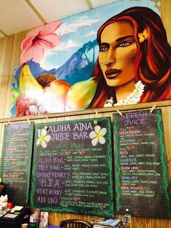Anake's Juice Bar : the options.