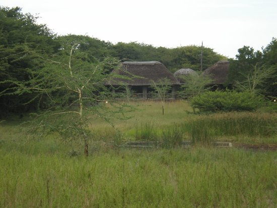 Makhasa Game Reserve and Lodge: View of lodge from other side of water hole