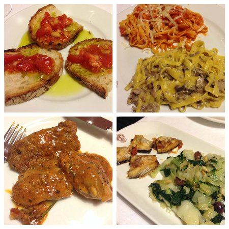 Trattoria dell'Orso: Brushetta, Pasta (with tomato sauce and truffle sauce), Chicken, Salad & Stuffed Zucchini