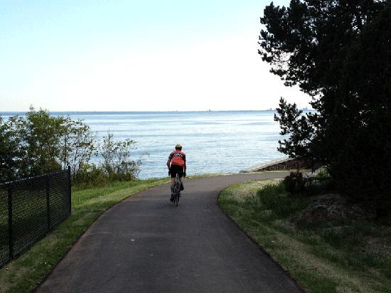 Biking the Lake Walk near Brighton Beach, Duluth, Minnesota