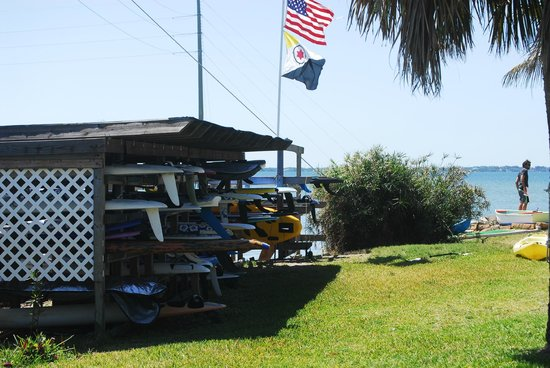 Banana River Resort: Our Board rack for safe storage