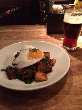 The Bridge Tavern: Beef short rib hash with duck egg. Red Mist ale.