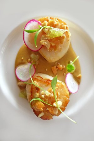 The Cottage in the Wood: Scallops , Satay , Lime , Radish